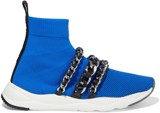 Balmain Cameron Chain-embellished Mesh And Stretch-knit High-top Sneakers