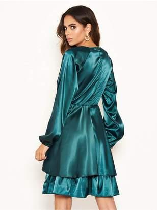 AX Paris Long Sleeved Satin Dress - Green