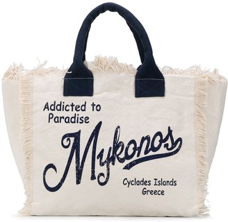 MC2 Saint Barth Slogan Print Frayed Beach Bag