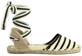 Soludos Striped Ankle-Wrap Espadrilles