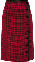 Altuzarra Christofor Silk Satin-trimmed Houndstooth Wool Skirt - Crimson
