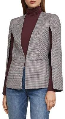 BCBGMAXAZRIA Plaid Cape-Sleeve Jacket