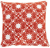"""Calla Angel Embroidered Lattice Throw Pillow, Red, 18""""x18"""""""