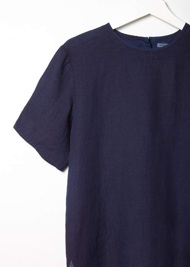 Blue Blue Japan Hand Dyed Linen Top Indigo Size: Small