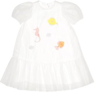 Il Gufo Appliqued tulle dress
