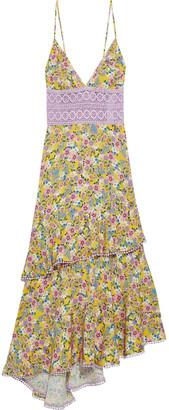 Charo Ruiz Ibiza Mara Tiered Crocheted Lace-paneled Floral-print Voile Midi Dress
