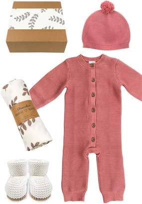 Oliver & Rain Sweater Romper, Beanie, Booties & Swaddle Set