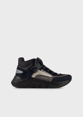 Giorgio Armani Chunky Sneakers In Nubuck With Buckle