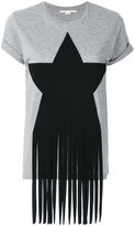 Stella McCartney fringe star detail T-shirt - women - Cotton/Polyamide/Spandex/Elastane/Viscose - 38