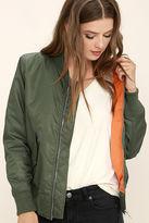LuLu*s Long Distance Love Olive Green Bomber Jacket