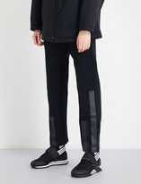 Y-3 Y3 Stripe-detail straight cropped mid-rise cotton-jersey trousers