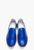 Maison Martin Margiela Royal blue buffed leather slip-on shoes