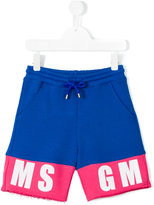 MSGM logo track shorts - kids - Cotton - 4 yrs