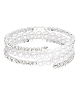 Love Rocks Crystal & Shell Pearl Coil Bracelet