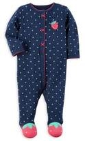 Carter's Size 6M Snap-Front Strawberry Footie in Navy