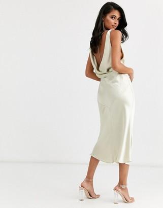 ASOS DESIGN cowl back bias cut midi dress with rhinestone back detail in satin
