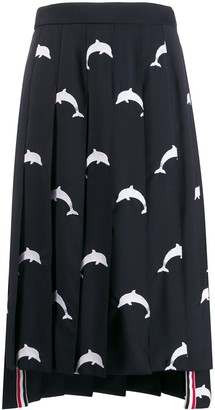 Thom Browne Embroidered-Dolphin Pleated Skirt
