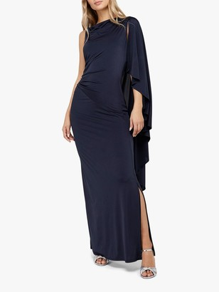 Monsoon Ophelia One Shoulder Cape Maxi Dress, Navy