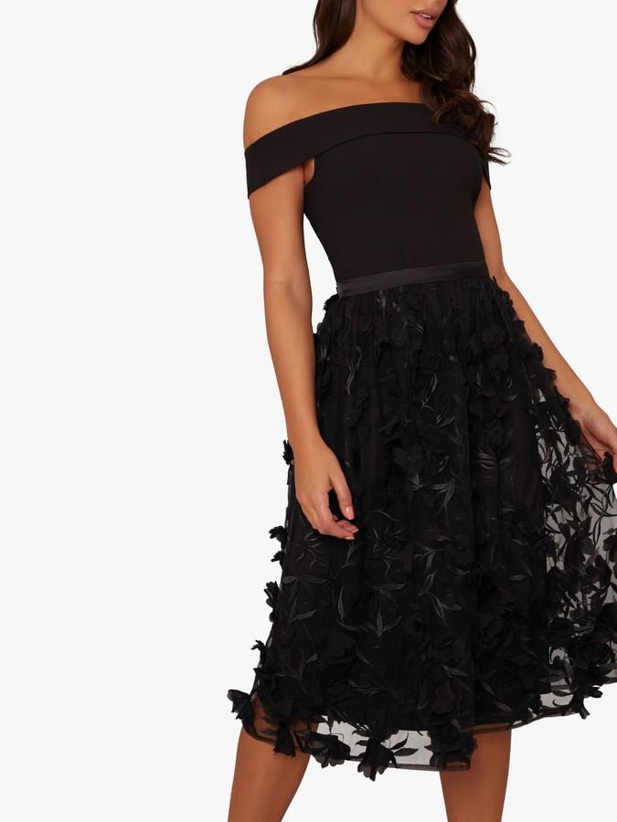 Chi Chi London Daxi Floral Embroidered Bardot Dress, Black