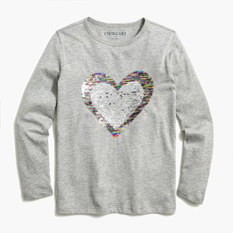 J.Crew Girls' reversible sparkly heart graphic tee