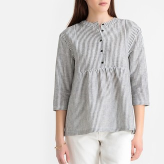 La Redoute Collections Linen Mix Striped Gathered Blouse
