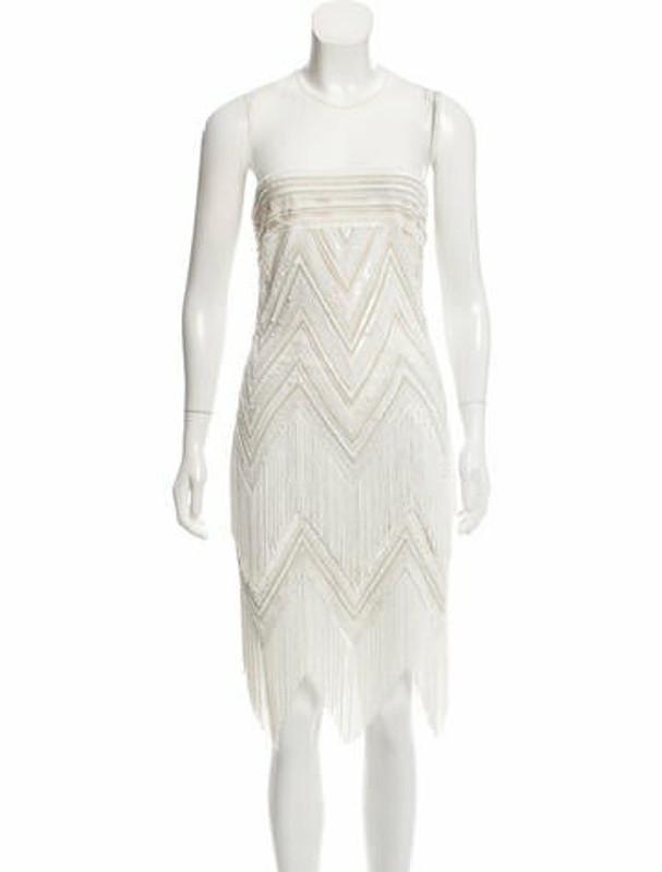 Naeem Khan Embellished Silk Dress Beige
