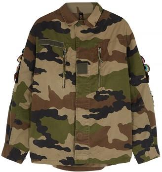 Ragyard Camouflage feather-appliqued cotton jacket