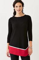 J. Jill Graphic Dipped-Hem Sweater