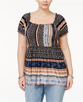 American Rag Trendy Plus Size Striped Babydoll Top, Only at Macy's