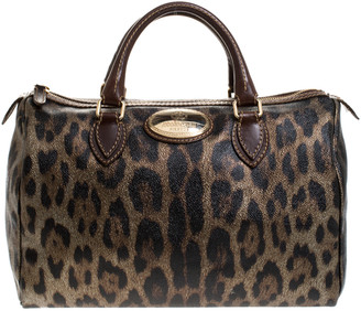 Roberto Cavalli Brown/Gold Leopard Printed Leather Boston Bag