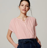 LOFT Striped Shirred Henley Tee