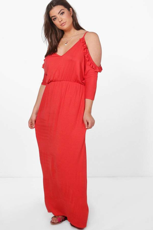 boohoo Plus Open Shoulder Ruffle Maxi Dress