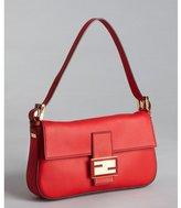 Fendi poppy grained leather logo buckle convertible shoulder bag