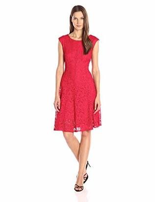 Chetta B Women's Cap Sleeve Shimmer Lace Dress