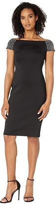 Calvin Klein Off Shoulder Sequin Arm Sheath (Black) Women's Dress