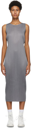 Pleats Please Issey Miyake Grey Sleeveless Mid-Length Dress