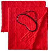Sofia Cashmere 100% Cashmere Cable Travel Set with Blanket, Pillow Case, and Eye Mask