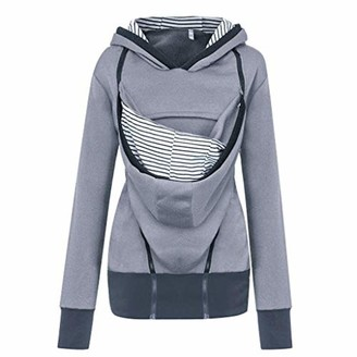 Dylung Sweater Dylung Women's Winter Spring Maternity Striped Baby Pouch Carrier Pullover Blouse Hoodie Sport Jumpers Kangaroo Zipper Pregnancy Coat Tops Clothes for Women Plus Size Grey