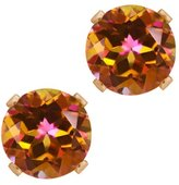 Gem Stone King 1.90 Ct Round Shape Mystic Topaz Rose Gold Plated Silver Stud Earrings