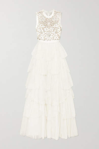 Needle & Thread Tiered Embellished Tulle And Point D'esprit Gown - Ivory