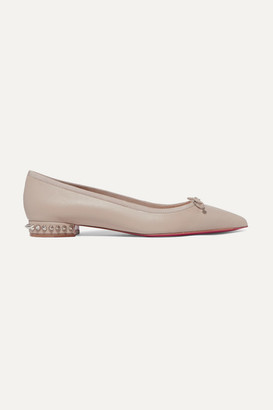 Christian Louboutin Hall Spiked Leather Point-toe Flats - Beige