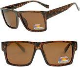 SunglassUP Brown Square Flat Top Unisex Casual Polarized Amber Sunglasses