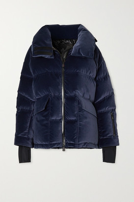 Moncler Atena Hooded Quilted Velvet Down Jacket - Navy