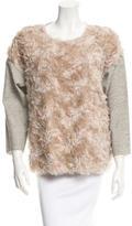 Derek Lam Fur-Accented Long Sleeve Top w/ Tags