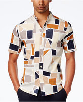 Sean John Men's Geometric Band-Collar Shirt