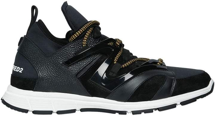 DSQUARED2 Leather & Neoprene Bungee Jump Sneakers