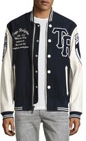 True Religion Moleskin & Leather Collegiate Varsity Jacket, Light Beige