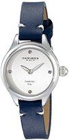 Akribos XXIV Women's AK750BU Quartz Movement Watch with Silver Dial and Blue Calfskin Leather Strap