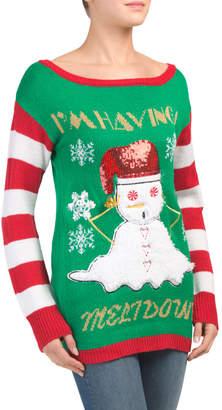 Juniors Melting Snowman Christmas Boat Neck Sweater