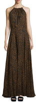 Derek Lam Sleeveless Silk Halter Dress with Drawstring, Vicuna Black